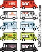 essen, lastwagen, grafik