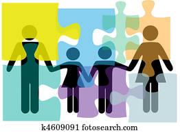 familie, leute, gesundheit, dienstleistungen, problem, loesung, puzzel