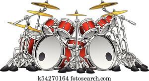 Huge 10 Piece Rock Drum Set Musical Instrument Illustration