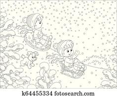kleine kinder, schlitteln, unten, a, schnee, hügel