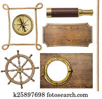 nautical objects rope, compass, steering wheel, signboard, porthole isolated