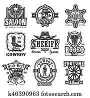 Set of wild west logos