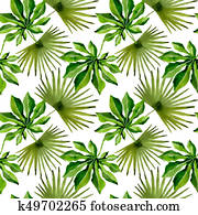 Tropical Hawaii leaves palm tree pattern in a watercolor style.
