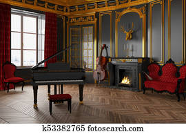 3d render of a classic room with grand piano