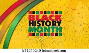 Black History Month title treatment with ribbons against yellow grunge graphic background