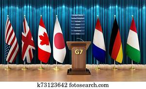 G7 country flags arranged in a conference room. 3D illustration