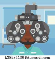 Patient during eye examination.
