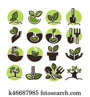 tree, pflanzt, und, grün, gartenarbeit, gartenbau, vektor, heiligenbilder, satz