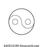 Yin Yang symbol icon, outline style