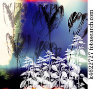 A collage using botanical and?architectural?elements to construct a?balanced composition.