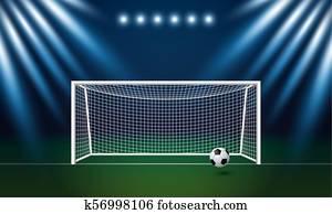 fussballtor, und, football, mit, scheinwerfer, hintergrund, in, stadion, vektor, abbildung