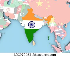 Map of India with flag on globe