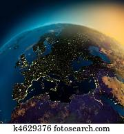 Night view of Europe from the satellite