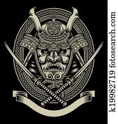 samurai, krieger, mit, katana, schwert