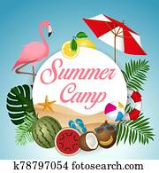 Summer Camp and circle banner with symbols