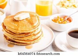 Delicious homemade breakfast with pancakes.