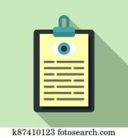 Eye examination card icon, flat style