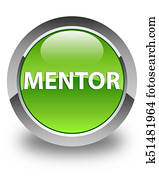 Mentor glossy green round button