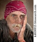 Pensive Portrait of Homeless Man