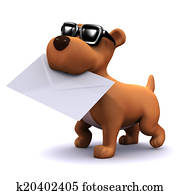 3d Puppy dog carrying mail