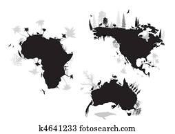 africa, north america, australia