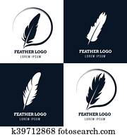 Feather, elegant pen, law firm, lawyer, writer literary vector logos set