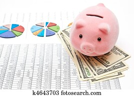 Piggy bank and charts