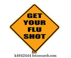 sign reminding everyone to get their flu shot