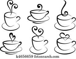 bohnenkaffee, und, tee, cups,, vektor