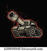 Cartoon Army Tank Machine