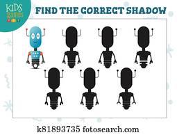 Find the correct shadow for cute cartoon robot educational preschool kids mini game