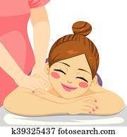 frau, massage, heilbad