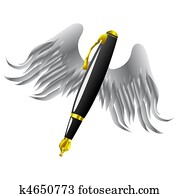 Golden pen and wings