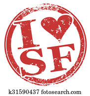 I Love SF San Francisco Round Red Stamp