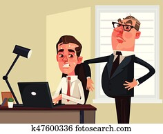 Strict boss businessman watching scared employees office worker character. Vector flat cartoon illustration