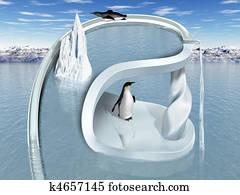 Surreal Penguin Wonderland