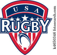 USA rugby ball shield stars stripes