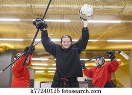weiblich, hockey, team, jubel