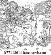 Beautiful mermaid girl surrounded by a fish holds a trident on underwater world with corals, seaweed and fishes background outlined