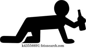 Crawling man on all fours with beer bottle