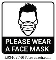 Please wear a mask sign for Virus protection concept