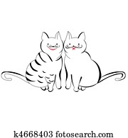 Two Cats On A Roof Clipart K2503614