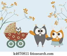 baby stroller with owls