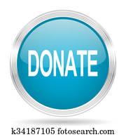 donate blue glossy metallic circle modern web icon on white background