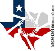 Hands Helping Texas Vector Illustration