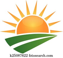 Sun and green road logo