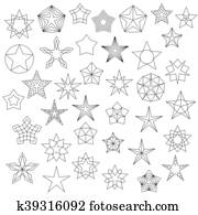 Big Set of Line Star Icons