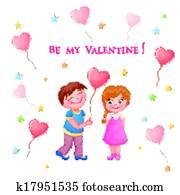 Clipart Of Cute Valentine S Day Couple K17951534 Search Clip Art