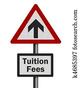 Tuition fees rise, photo-realistic signpost, isolated