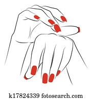 Woman's palms with red manicure